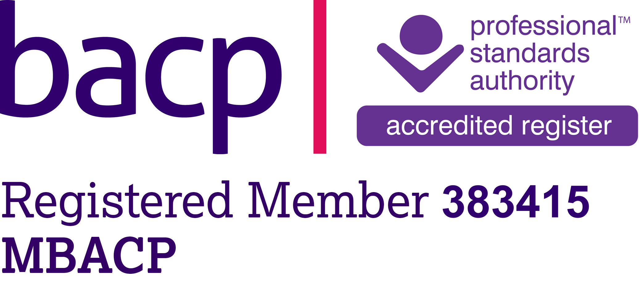 The official logo of the BACP. Jo Dell is accredited and a registered member.
